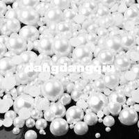 flatback perlen gemischte größen großhandel-Großhandel-6000 Stück / Pack gemischte Größe von 2 mm bis 8 mm Craft Resin Flatback halbe lose Perle weiße Farbe
