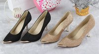 Wholesale Kitten Heel Pumps Black Dress - Women's Shoes High Heels  Kitten Heel  Pointed Toe Closed Toe  Heels Dress Casual Black Golden Fashion Lady Shoes Fine Box Pack BY0000