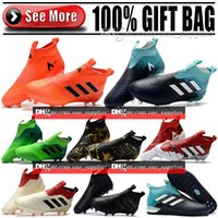 Wholesale Original Leather Soccer Boots - Original Laceless High Ankle Football Boots ACE 17 Purecontrol FG Soccer Shoes Mens Indoor ACE Tango 17 Pure Control TF IC Soccer Cleats