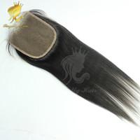 luces italianas al por mayor-Cierre de encaje yaki claro 4 * 4 nudos blanqueados Cierre de encaje de cabello humano yaki claro italiano Color de cabello negro natural