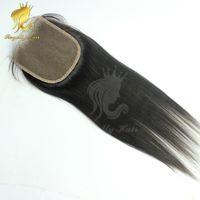 Wholesale Light Yaki Human Hair - light yaki Lace Closure 4*4 Bleached Knots Italian light yaki Human Hair Lace Closure Natural Black hair color