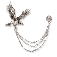 Wholesale Wholesale Eagle Brooch - 10pcs lot Vintage Metallic Eagle Brooches Pins Rhinestone Tiercel Breastpins Man's Outdoor Dressing Up Decorations wx729