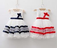 Wholesale Tz Dress - girl dresses 2016 summer style girls dress baby girl princess dress children stripe girls dresses TZ-A103 for free shipping