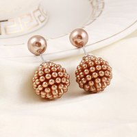 Wholesale 6pairs Elegant Beads Design Earrings Double Side Pearl Ear Nails Girls Dating Ornaments je302