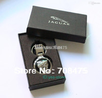 Wholesale Jaguar Gift Keys - Wholesale-Male Fashion Metal keychain Jaguar car key chain Pendant Ring+ Gift Case Brand New Best Presents