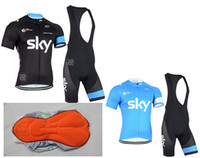 Wholesale Black Padded Sports Wear - 2015 SKY Tour of France Sport suit Mountain Bike Ropa Ciclismo Cycling Jersey MTB Bicycle jerseys Wear clothing 3D Gel pad BIB sets