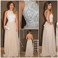 Wholesale See Through Laced Dress - Long Sequins Lace Prom Dresses Party Evening Gown Formal Champagne Beading Chiffon Back See Through Custom Made