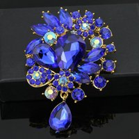 Women's blue brooches - danbihuabi brand royal blue large brooches for women sapphire jewelry vestido de noiva bijoux fashion women brooches jewelry