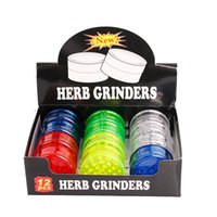 Wholesale grinder spices - 60mm 3 piece colorful plastic herb grinder for smoking pipe tobacco spice grinder with 5 color chaep smoking pipes grinders