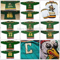 Wholesale Duck Cup - 2017 Stanley Cup Playoffs Mighty Ducks Movie 86 Shjon 99 Banks 33 Goldberg 44 Reed 56 Tyler Bombay Green Men Women kids Blank custom jerseys