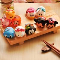 Wholesale Sound Production - 10pcs lot Cute Mini Duck Mouse Plastic Toy Pendant Vinyl Toy Sound Production Tsum Tsum Kids Toy Free shipping