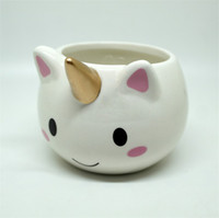 Wholesale porcelain child - Cartoon Unicorn Mug 3D Ceramic Coffee Cup Drinkware For Children Christmas Gift Hot Sale 14fg C R
