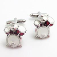 müzik tokaları toptan satış-Kol düğmeleriNew Müzik Serisi kol düğmeleri davul wit stil Fransız erkekler ve kadınlar için Manşetleri toka Kol Düğmeleri Ücretsiz Kargo