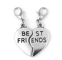 Wholesale Pendant Making Part - Wholesale 10Pairs lot Two Parts Heart Best Friends Letter Dangle Charms Pendant Fit For Glass Floating Locket Jewelry Making