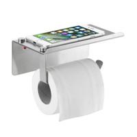 telefonlar için 3m yapışkan toptan satış-Yeni 3 M Kendinden Yapışkanlı Duvar Montaj Kağıdı Doku, SUS304 Paslanmaz Çelik Tuvalet Kağıdı Tutucu Cep Telefonu / Sabun Depolama Raf, Fırçalanmış