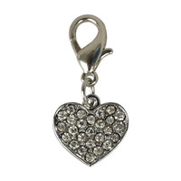 Wholesale Dog Bling Charms - 20pcs lot HEART Tags Pet Pendant Collar Rhinestone Bling Charms with hooks for Dog Pet Decoration Accessories