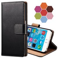 Wholesale Iphone Cases Real Leather Wallet - Black Luxury Real Genuine Leather Case For iPhone 6 6plus s8 s8 plus Stand Design Wallet Style Phone Bag Flip Style Cover Cases