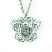 collar llamativo plata blanca al por mayor-Collares pendientes de plata blanco 18 mm jengibre Snap botones Mariposa diy intercambiable para mujeres collar de declaración joyería