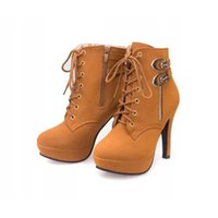 Wholesale Tan Stiletto Shoes - Boots female High heel with waterproof platform side zipper boots shoes lace large size Martin boots. XZ-064