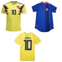 jerseys baratos equipos de fútbol al por mayor-Copa Mundial 2018 Camisetas de Futbol Colombia Baratas Low price Mejores camisetas de fútbol Thai Quallity 2018 Camiseta de fútbol JAMES national team