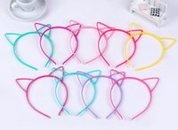 Wholesale Cat Hair Ribbon - Kids Headbands Cat Ears ABS plastic with short combs multi color animal ear Headband for kid party hairwear cat ear hair band