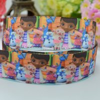 "Wholesale Wholesale Doc Mcstuffins Girls Clothing - Free shipping 7 8""22mm Doc McStuffins Girl Printed grosgrain ribbon,hairbow DIY handmade clothing materials 50yards OEM"