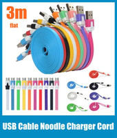 Wholesale S4 Note Ii - Micro USB Data Sync Charger Cable 3M 10FT Charging Cord Noodle Work With Samsung Galaxy S3 S4 S5 Note II 3 all phones CAB004