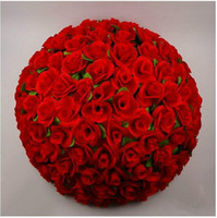 "Wholesale Sell Rose Kissing Balls - HoT Selling 30CM 12"" Artificial Encryption Rose Silk Flower Kissing Balls Hanging Ball Christmas Ornaments Wedding Party Decorations Supplie"