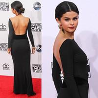 selena gomez seksi elbiseler toptan satış-Selena Gomez Kadınlar Örgün Abiye Siyah Mermaid Parti Elbise Ünlü Akşam elbise kaftan vestido de dresses robe de soiree longue