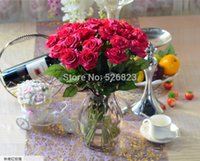 Supplies estive partito decorativa Flowers corone Red Rose tocco reale artificiale rose lattice Disposizione di fiori, festa di nozze del matrimonio Ch ...