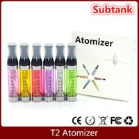 100% Qualité Kanger T2 Atomiseur 2.4ml Clearomizer e Cigarette ego Tank remplaçable CE9 pour ego batterie evod vision spinner 2 free shpping