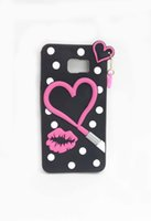 Wholesale Bright Pink Lips - For Samsung Galaxy Note 5 J7 Soft Silicon Rubber Material Case Cover With Loving Cerise Bright Red Lip Photo And Drop Ornament Shining Black