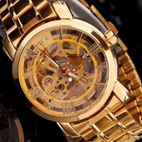ingrosso orologi meccanici mce-Orologio da polso Marca MCE unisex in acciaio dorato Orologio da uomo di lusso VOGUE AUTOMATIC Orologio in oro con scheletro Orologio meccanico scatola regalo originale