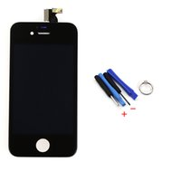 жк-экран случае оптовых-Wholesale-New Black Outer Glass+LCD Display +Touch Screen Digitizer Assembly+Tools Replacement Case for  4 4G, free shipping