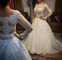 Wholesale Gown Dreses - 2016 China Pearl Luxury Cheap Wedding Dreses With Long Sleeves Ball Gown Wedding Dresses See through Back Bridal Gown