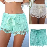 Wholesale 1PC Women Girl Lace Hem Crochet Chiffon Belt Summer Beach Shorts Feitong