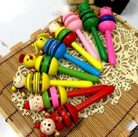 Wholesale Maraca Baby Shaker - Baby Kid Rattles Wood Maraca Toys Cartoon Smile Face Jingle Shaker Toy Children Brand New Good Quality