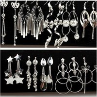 Wholesale mexican silver hoop earrings - Silver Jewelry Multistyle Many Designs Geometric Long Tassel Dangles Drop Earrings Wholesale Ear Hook Hoop For Women Mixed Order Free Ship