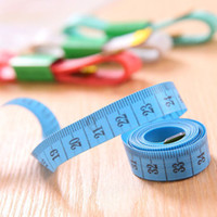"""Wholesale Tailoring Sewing Tape Measure - Wholesale-4 X Random Color !!! Body Measuring Ruler Sewing Cloth Tailor Tape Measures Soft Flat 60"""" 150cm"""
