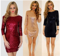 Wholesale Smmer Dresses - Spring Smmer Dress Womens O Neck Long Sleeve Pailllette Sequins Backless Bodycon Slim Pencil Party Dresses