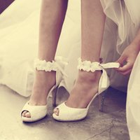 Wholesale Ladies Sequin Shoes - Peep-toe Lady Formal Dress Shoes Women High-heeled Shoes Beautiful White Lace Wedding Bridal Party Prom Shoes Pageant Pumps