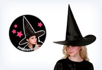 2015 Promotion Cool Adult Women Halloween Black Witch Hat Oxford Costume Party Props chapeau Livraison gratuite Vente en gros