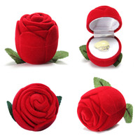 Wholesale Rose Jewelry Boxes - Red Rose Ring Box Engagement Wedding Earrings Keepsake Pendants Jewelry Sets Display Case Gift Boxes Wholesale