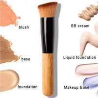 Wholesale Hair Functions - New Powder Oblique Style Brush Wooden Handle Multi-Function Mask Brushes Foundation Makeup Tools