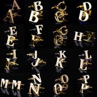 ingrosso gemelli di colore oro-26 Lettere inglesi A-Z Gemelli Uomo Gemelli Camicia francese color oro Uomo Gioielli Gemelli Nome Pulsanti polsini iniziali