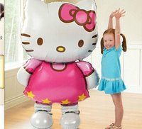 Wholesale Toy Air Balloons - Large Size Hello Kitty Cat Foil Balloons Cute Cartoon Birthday Party Wedding Decoration Party Inflatable Air balloons Classic Toys
