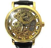 homem de relógio de mão transparente venda por atacado-Vencedor Da Marca original de Ouro Moda Casual Mens Stainless Steel Watch Esqueleto Esqueleto Mão Relógios Para Homens De Couro Relógio de Pulso Transparente