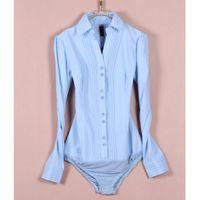 Wholesale jumpsuits shirts bodysuit - Free shipping V-neck Pleated Lapel Bodysuit Blouse Long Sleeve Top OL Classic White Blouse Shirts Jumpsuit