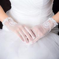 Wholesale Bridal Glove Ivory - Hot Sale 2015 New Ivory White Bridal Gloves Beaded Lace Long Finger Wedding Gloves Wedding Accessories Luvas de Noiva