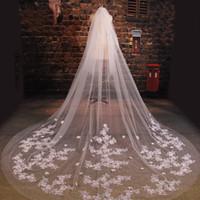 ingrosso lunghi veli-Nuovo arrivo Velo da sposa Lungo Lunghezza Elegante Pizzo in rilievo Lungo Velo da sposa Moda Velo da sposa lungo